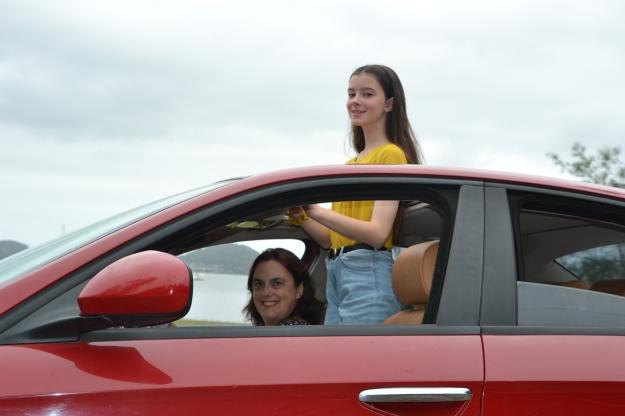 Rowena & Amelia red car